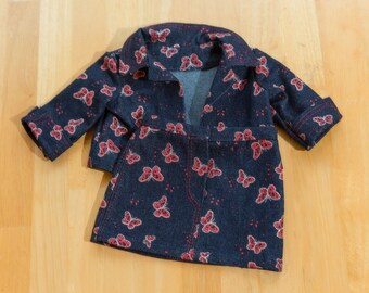 """Denim jacket and skirt for 18"""" doll #American Girl Doll #Jacket and skirt with red butterflys"""
