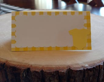 Gingham Yellow Onesie Food Tent Cards