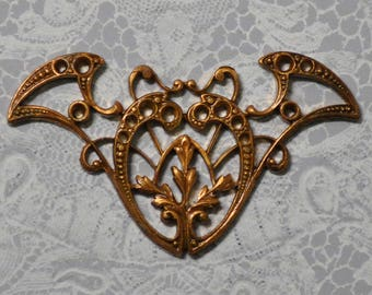 Vintage French Art Nouveau Style Brass Die Casting Stone Setting Jewelry Finding 1 Piece 440J