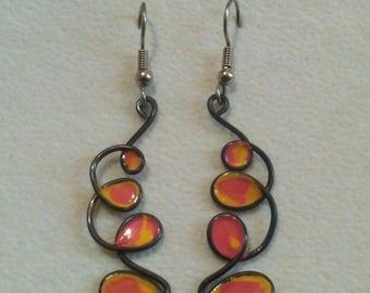 Tie-dye black wire faux stained glass earrings