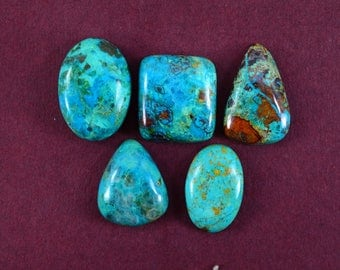 Natural Chrysocolla mix shape loose semi precious gemstone cabochon size 21 To 25 mm approx wholesale gemstone GE-365