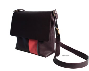Large bag leather with large zippered back pocket