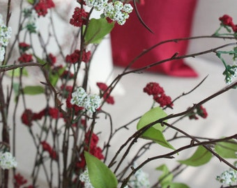 "Luxury Artificial Osmanthus Branch in Red and White 38"" Tall"