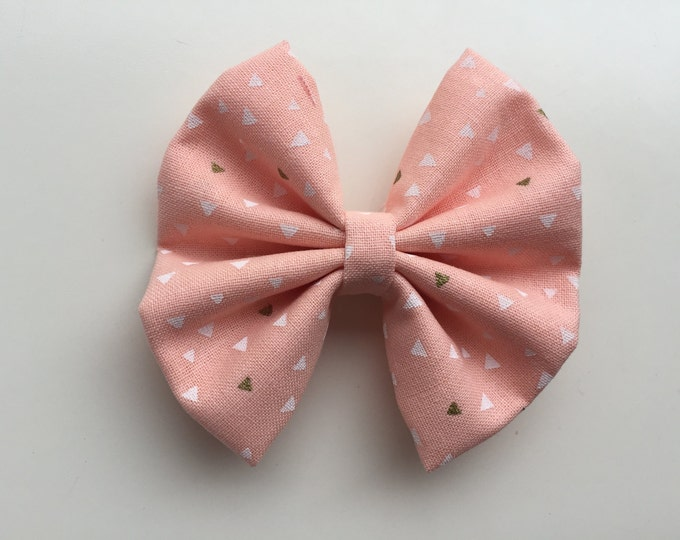 Coral triangles fabric hair bow or bow tie