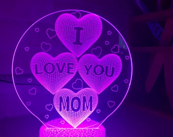 I Love You Mom Exclusive Mother's Day Birthday Gift 3D Night Lamp, 3D Night Light Light Home Decor Illusion light