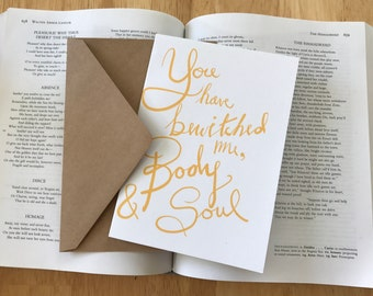 """Pride and Prejudice 'You Have Bewitched Me"""" Anniversary Card, Love Card"""