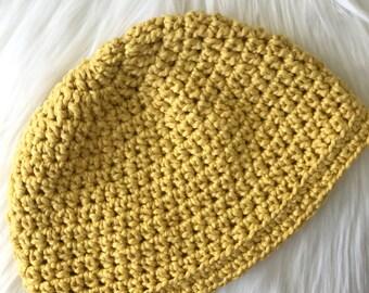 Organic Cotton Yellow Bright Trendy Crochet Beanie - Yellow // Canary Yellow // Mustard Yellow