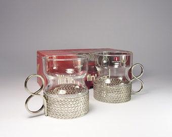 Vintage Iittala Tsaikka tea glasses designed by Timo Sarpaneva. Original box. Finland.