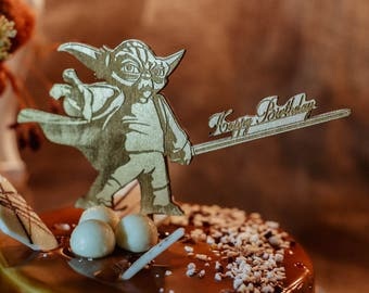 Happy Birthday Cake Topper  Custom Cake Topper Star Wars Cake Topper Yoda Cake Topper Happy Birthday Topper Cake Topper Birthday Cake Topper