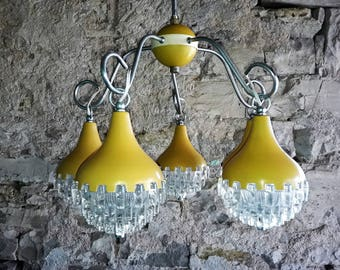 Mid Century Modern Pendant  Light / Five Yellow Drops Chandelier 60s