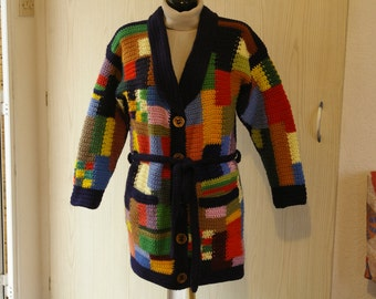 """Patchwork"" for woman, hand knitted coat"
