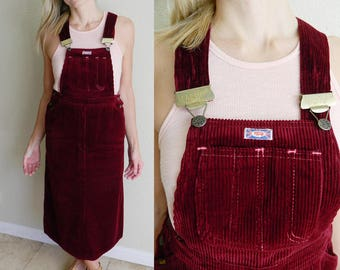 VTG Rare Mashe England Brand Wine Colored Corduroy Overall Dress, Buffalo, Wide Corduroy Jumper, Small