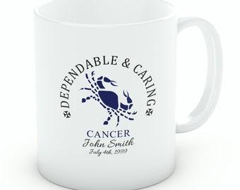Personalised Cancer Mug – 10oz White Porcelain Zodiac Mug (M118)