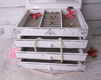Jewelry box wooden jewelry box 3 drawers shabby chic with white glass
