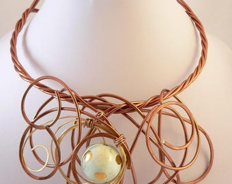Copper statement necklace.Bold and Chunky.Bib style.Unique wearable art.