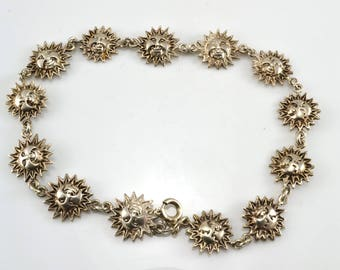Sun Bracelet, Sterling Bracelet, Vintage Bracelet