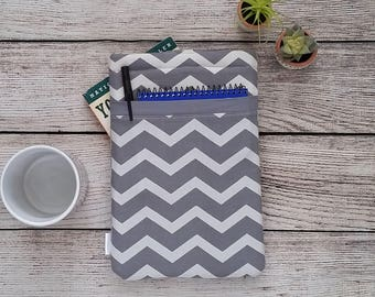 Pocketed Grey Chevron Padded Book Sleeve - Baby My Book, book sleeve, paperback sleeve, Book accessory, book pouch, hardback sleeve