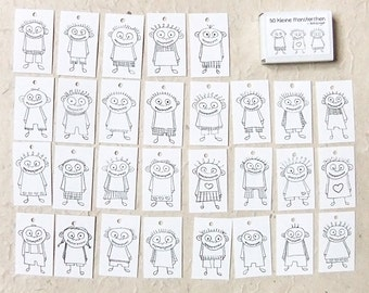 30 monsters labels, black and white