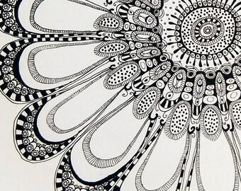 Original drawing, black and white, Finelinerzeichnung, flower in square 1