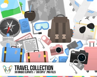 Travel Clipart Collection, Suitcase Clipart, Tickets Clipart, Vacation Clipart, Holiday Clipart, Planner Clipart, Scrapbooking Cliparts