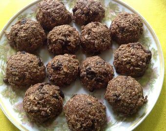 Dozen Oatmeal, Cacao, & Raisin Balls, RAW, Vegan, Gluten Free