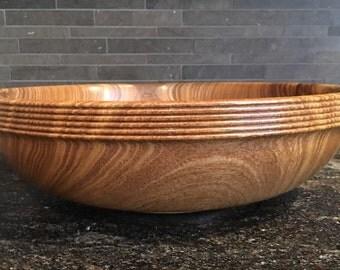 One of a kind,  hand turned pagoda wood bowl