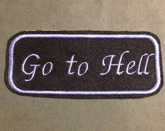 Go to hell iron-on patch