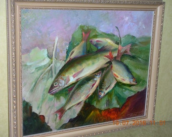 """Original oil painting """"Morning Catch"""", canvas, in an expensive frame Czech Republic."""