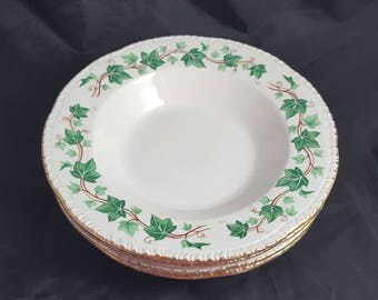 4 Homer Laughlin Ivy Rimmed Soup Bowls 8 1/4""