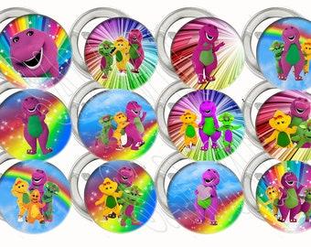 "Barney Purple Dinosaur Large 2"" Buttons Pins Party Favors (12 pc) Metal, Pinback, 2.25"" Diameter"