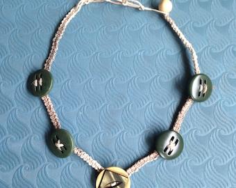 Hemp Adjustable Button Necklace / Choker