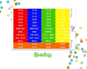 Primary Headers- Planner Stickers; To Do, Today, Little Things, Etc.; Red, Blue, Green, Yellow, Orange