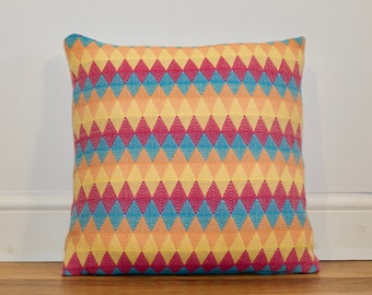 Bespoke Handwoven Multicoloured Diamond Cushion