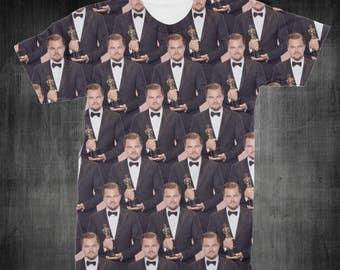 "T-Shirt - ""Leonardo DiCaprio Oscar"" Women - Men - Full Front Polyester Tee Sleeve - FAST SHIPPING"