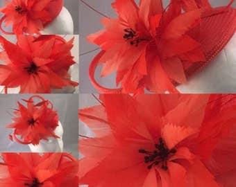 Orange Pari Sisal Straw Beret/Pillbox Fascinator, Orange Wedding Hat, Straw Headpiece, Ascot Fascinator, Races Hat, Ladies Day Headpiece