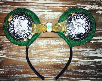 Mermaid Ears, Starbucks Ears, Coffee Ears, Mickey Inspired Ears, Disney Inspired Ears, Mouse Ears