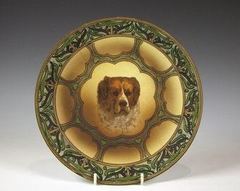 Antique Nippon Porcelain Dog Portrait Hanging Plaque with Moriage Trim