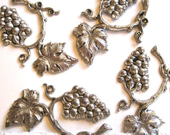 Grape Vine-Vine and Leaf-Vintage Metal Findings-Silverplated-Jewelry, Crafts Supply-1 lot (12 pcs)