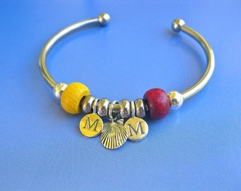 Camino charm bangle, personalised for 2 people  - steel + silver