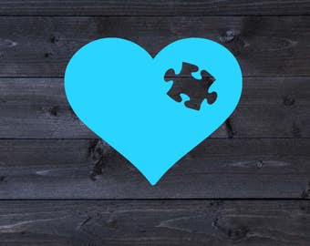 Autism Awareness Adhesive Vinyl Decal | Car Sticker | Heart Puzzle Piece
