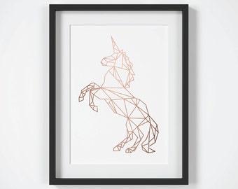 Unicorn Print, Geometric Unicorn Wall Art, Copper Wall Art, Rose Gold Unicorn Print, Rose Gold Wall Art, Fairytale Girls Room Decor, Modern