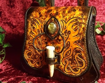 Twin Dragons of Fire leather purse/bag