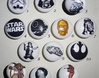 STAR WARS 40mm Drawer/Cupboard Knobs! Stormtrooper! Darth Vadar! Yoda! C3PO! R2D2! Kids Birthday Gift Idea!
