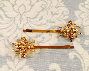 Bumble Bee Gold Hair Pins // Set of 2