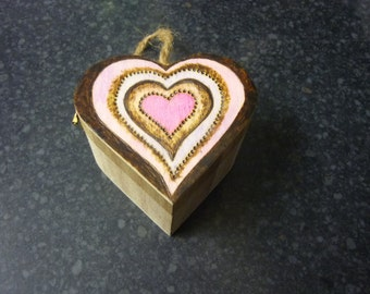 Sweet little heart shaped pyrography box valentines love anniversary mothers day