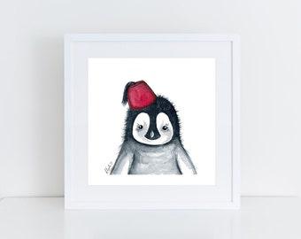 Lil' Penguin - Fez - Print