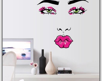 Woman Wall Decal Beauty Salon Girl HOT Kiss Sexy Girl Lip Eyes Wall Stickers,  Bedroom