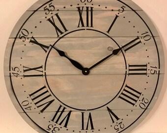 "24"" Wall Clock - Custom Farmhouse & Rustic Style in Gray"