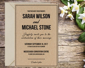 Wedding Invitation, Classic Wedding, Rustic Wedding, Country Wedding, Printable Wedding, Invitation template, Wedding invitation