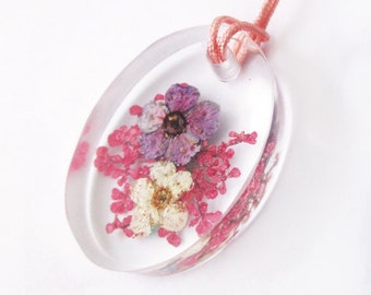Oval Rosa in flowery resin jewel pendant necklace nature in colorful dried flowers